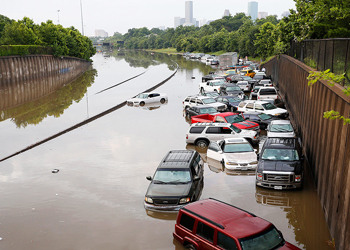 texas storm flooding on highway