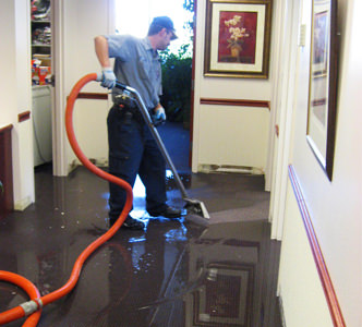 water damage clean up in office