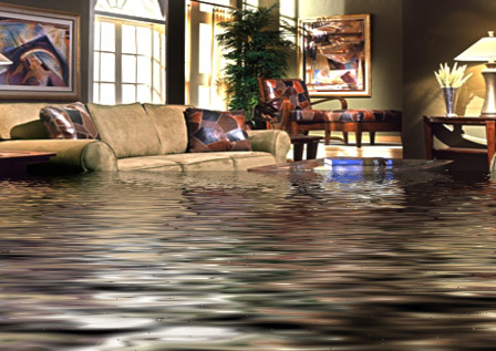 flooding in living room of coastal home